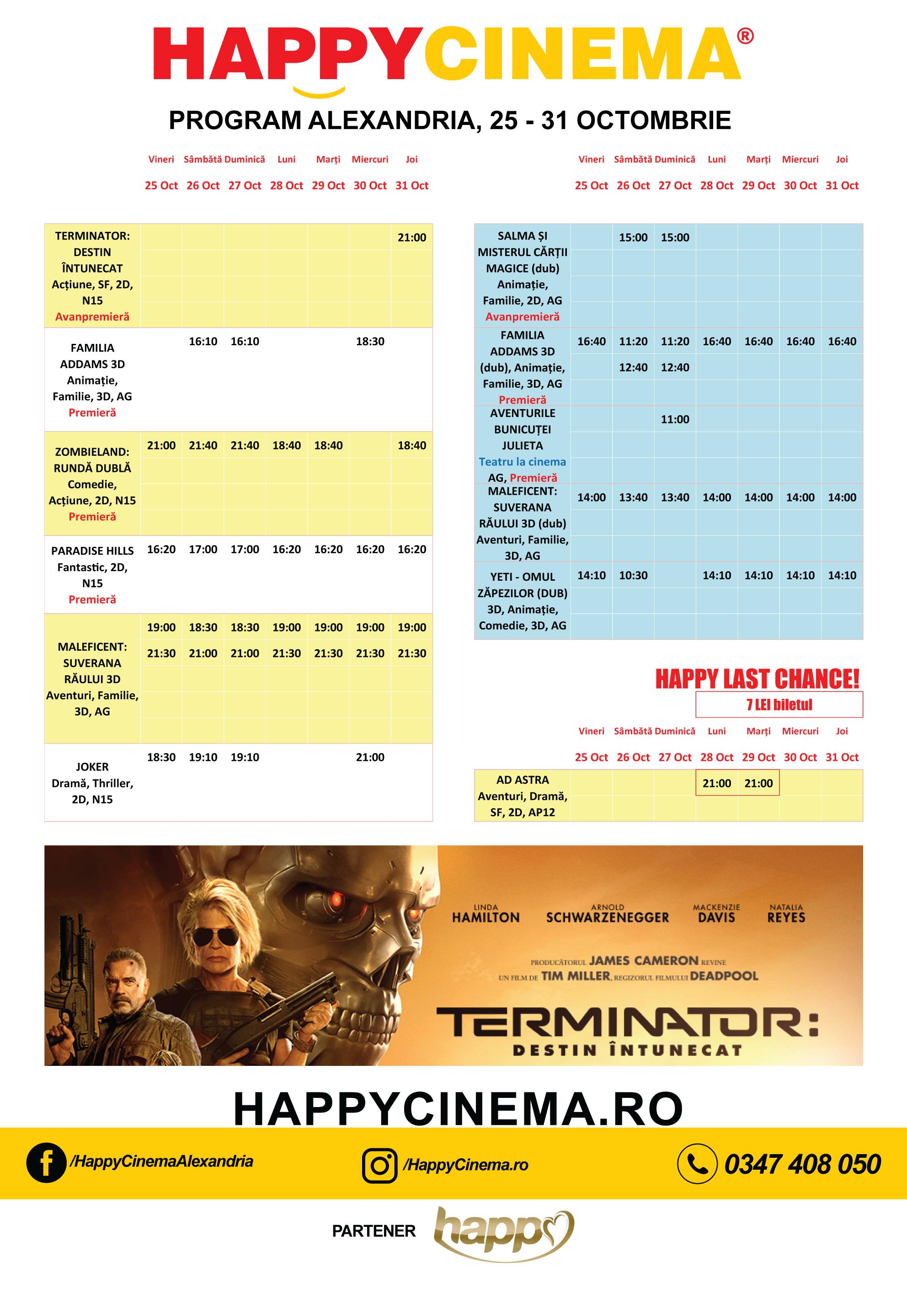 Programul filmelor la Happy Cinema Alexandria, perioada 25-31 octombrie