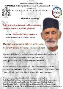 Conferință cu părintele Valerian Grecu, la Covasna