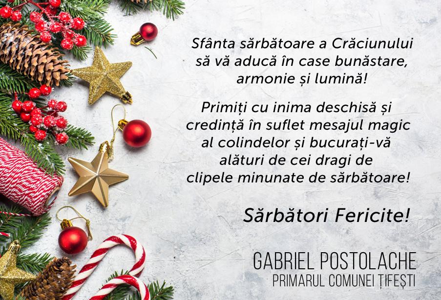 """Gabriel Postolache, primar Țifești: """"Bucurați-vă alături d"""
