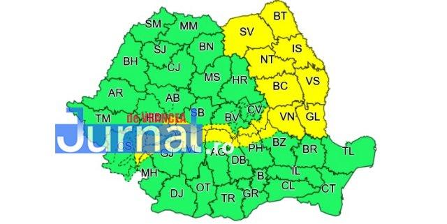 ACUM: Cod galben de vânt în Vrancea și în alte 8 județe din