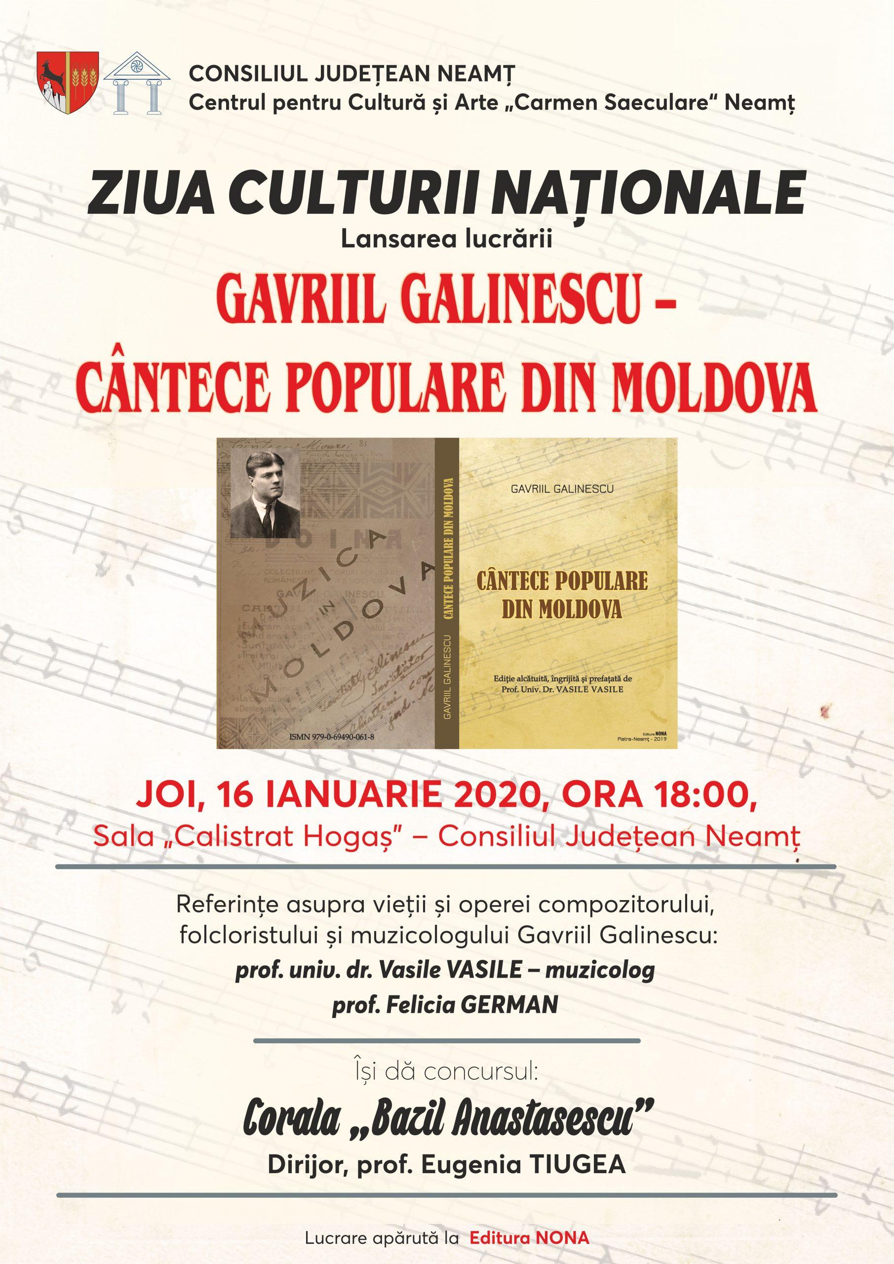 """""""Cântece populare din Moldova"""", de Gavriil Galinescu, lansări la Bicaz, Târgu Neamţ şi Piatra Neamţ"""