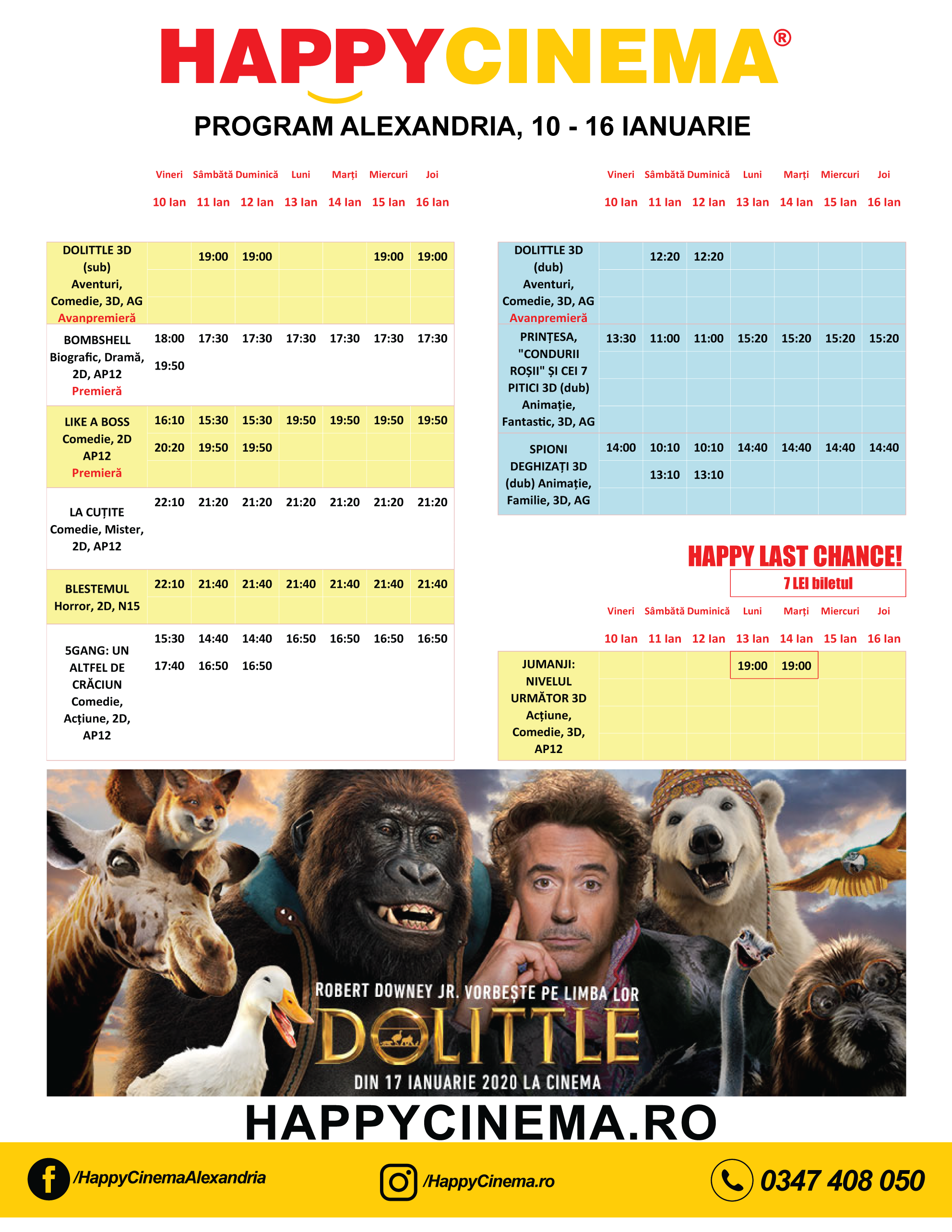 Programul filmelor la Happy Cinema Alexandria, perioada 10-16 ianuarie
