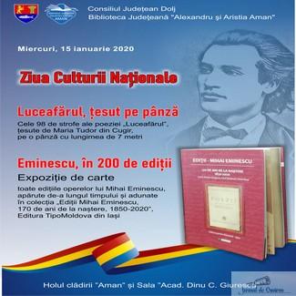 ZIUA CULTURII NATIONALE sarbatorita la Biblioteca Judeteana Alexandru si Aristia Aman
