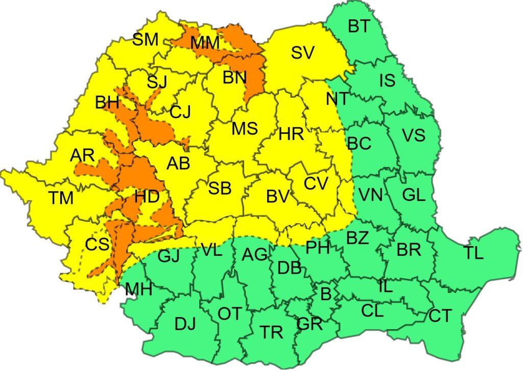 Cod portocaliu de precipitații abundente în 9 județe, vânt și ninsori