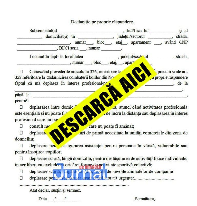 DOCUMENTE: DESCARCĂ AICI declarația pe proprie răspundere și adeverința de la angajator