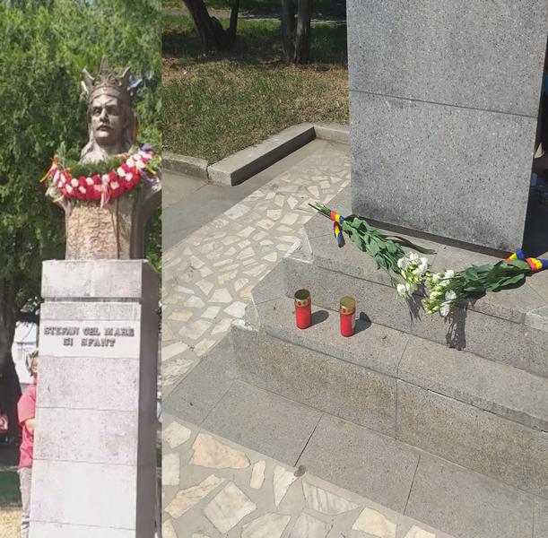 Flori și lumânări aprinse la bustul lui Ștefan cel Mare   Directorul Teatrului a vorbit despre dezvoltarea Moldovei în timpul domnitorului. VIDEO