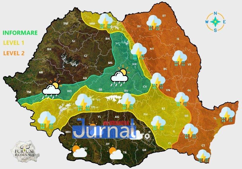ULTIMĂ ORĂ: Avertizare de vijelii, averse torențiale, descărcări electrice și grindină