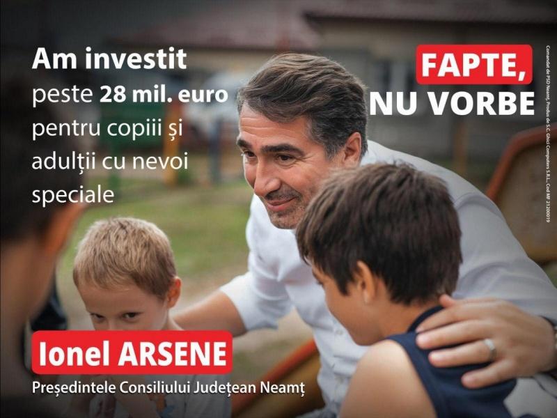 Ionel Arsene susține programele dedicate copiilor și tinerilor cu nevoi speciale