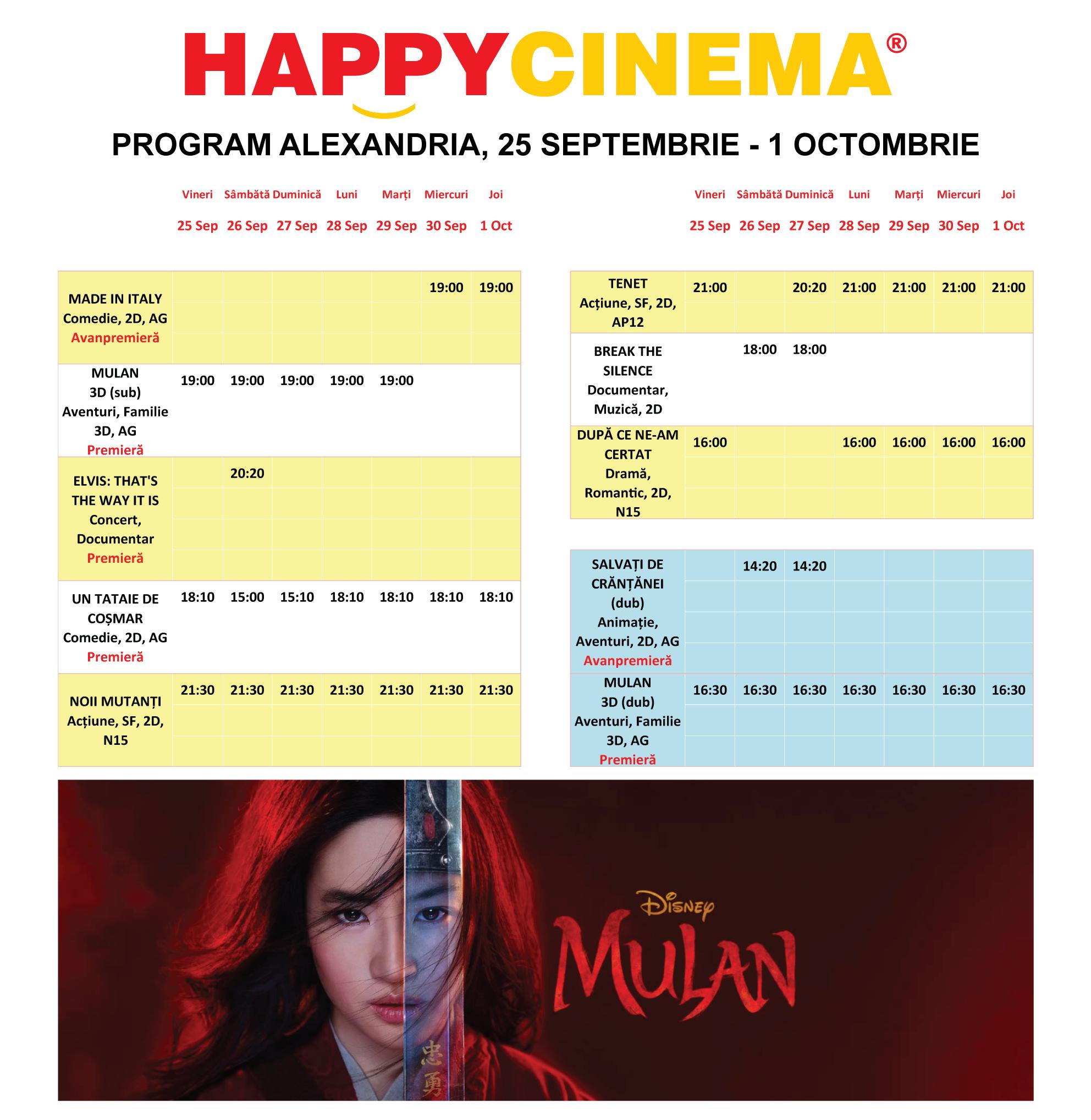 Programul filmelor la Happy Cinema Alexandria, perioada 25 septembrie – 1 octombrie