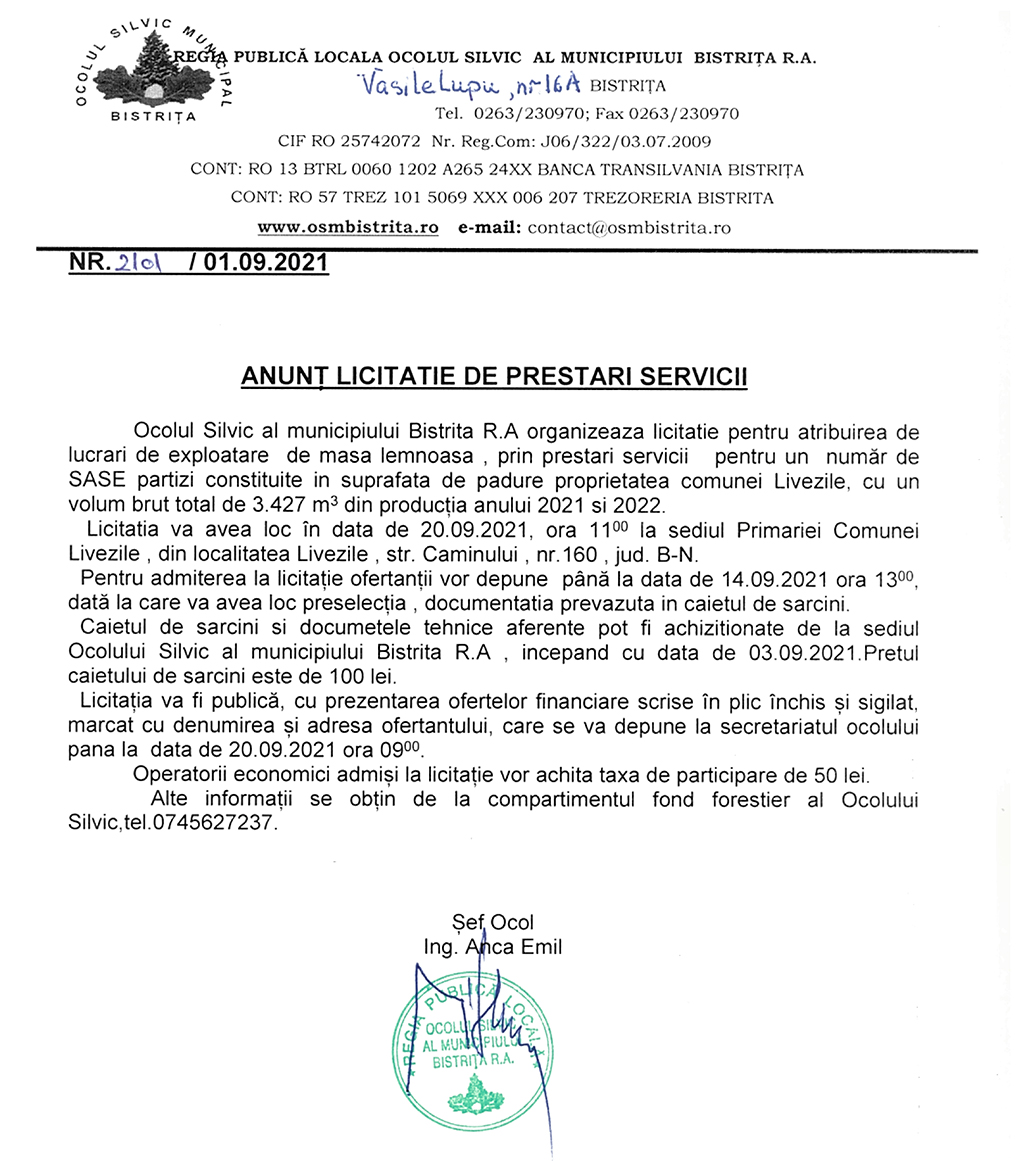 ANUNT LICITATIE DE PRESTARI SERVICII 3 SEPT 2021