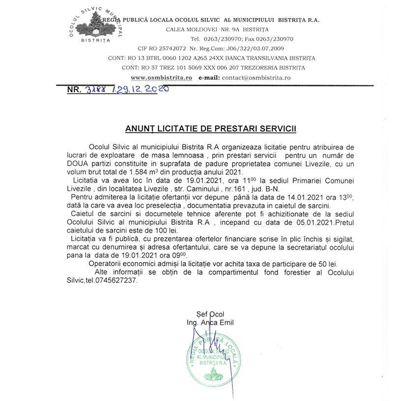 ANUNȚ LICITATIE DE PRESTARI SERVICII 31.12.2020