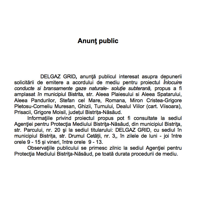 Anunt public DelGaz Grid