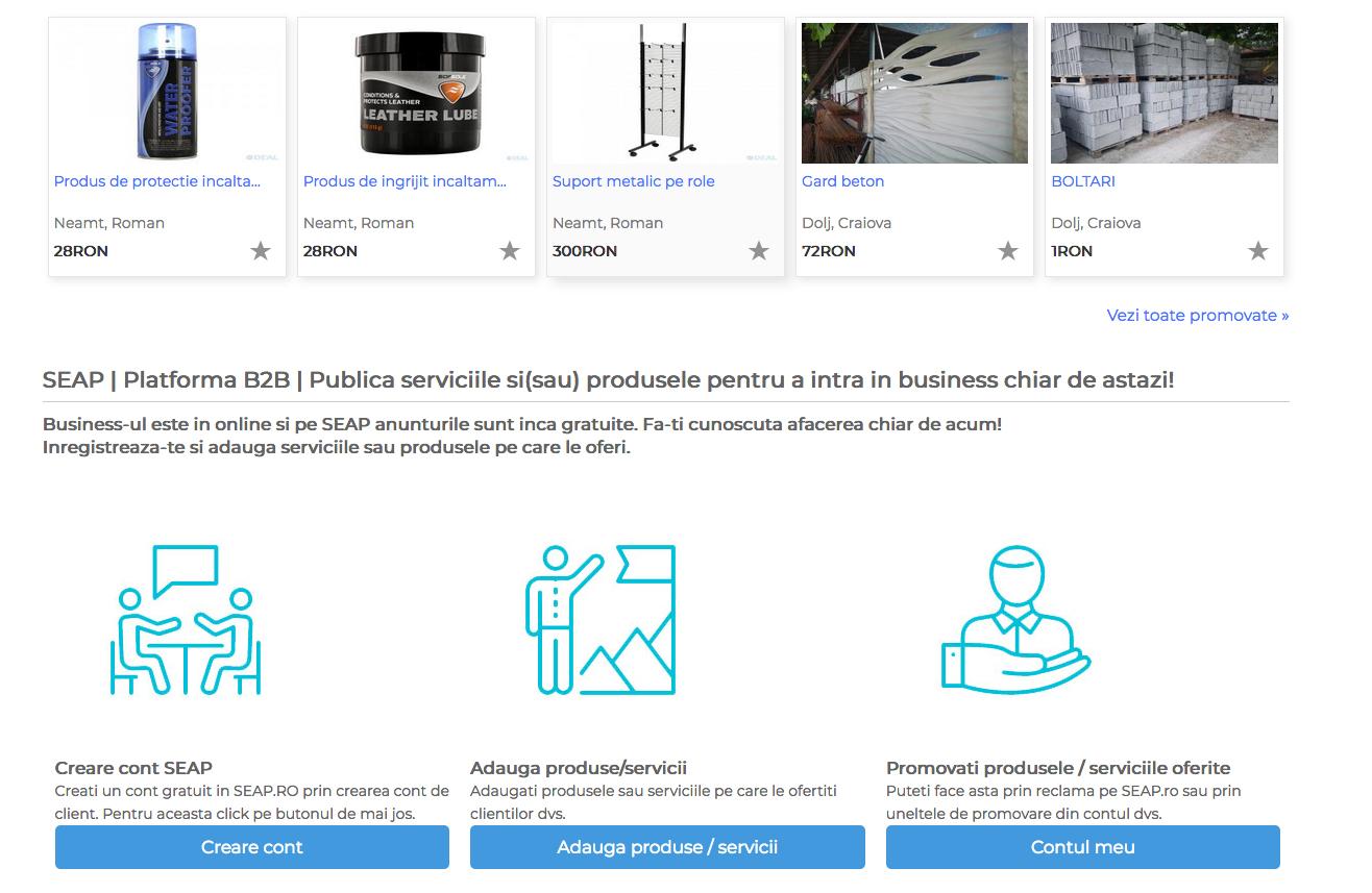 Listeaza produsele si serviciile pe SEAP.RO